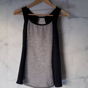 Lululemon two tone cut out back mesh striped tank